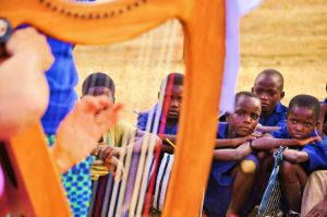 Bev playing the Harp.